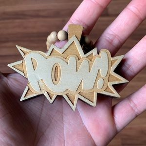 "Wood ""POW!"" Necklace"